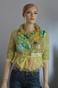 Boho Chic Romantic Hand Knitted Crochet Embroidered Jacket  Cardigan Sweater 3/4 sleeves - Textile Collage -Wearable Art - OOAK