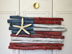 Drift Wood American Flag with Starfish by HandyGerl on Etsy, $40.00.... LOVE!