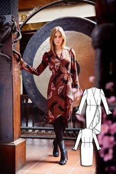Wrap Dress 10/2015 #112AB http://www.burdastyle.com/pattern_store/patterns/wrap-dress-102015?utm_source=burdastyle.com&utm_medium=referral&utm_campaign=bs-tta-bl-150914-CherryBlossomCollection112B