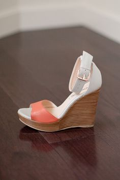 Wedge - Orange-Off-White Leather | Emerson Fry