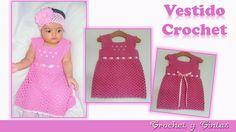 Vestido para niñas con detalles bordados a crochet (ganchillo) - 6/9 meses