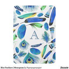 Blue Feathers   Monogram Stroller Blanket