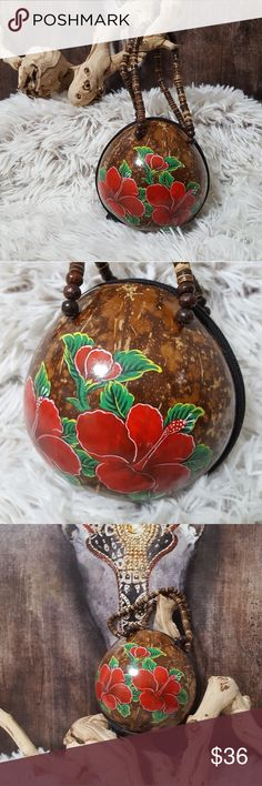 NEW! HAND PAINTED COCUNUT SHELL HANDBAG! NEW! HAND PAINTED COCUNUT SHELL HANDBAG! Adorable bag! Hand painted traditional Hawaiian flowers. Beaded handles. Zipper closure. Lining inside. Wristlet bag!  Perfect condition and NEW! Hawaii Bags Clutches & Wristlets