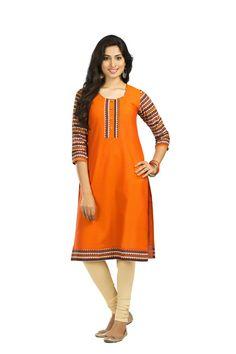 Straight Cotton Kurta With Kalamkari Sleeve And Placket