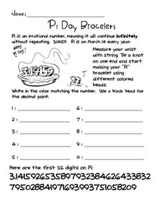 Worksheets Pi Day Worksheets 3 14 pi day use with sir cumference and the first round table is march 14th heres a set of resources for creating bracelets to celebrate