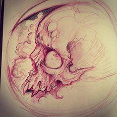 Tattoo Design Drawings, Skull Tattoo Design, Pencil Art Drawings, Tattoo Sketches, Art Sketches, Evil Skull Tattoo, Skull Tattoos, Pin Up Tattoos, Creepy Sketches