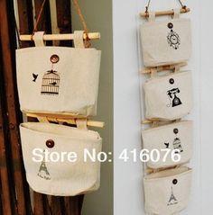 2014 Brand New Wall Fabric Pouch Bag Wardrobe Bedside Nostalgia Cotton Storage Bag(China (Mainland)) Wall Hanging Storage, Hanging Organizer, Key Organizer, Linen Storage, Bag Storage, Bedside Storage, Door Storage, Barris, Wall Pockets