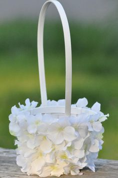 White hydrangea flower girl basket. by Hollysflowershoppe on Etsy, $39.00