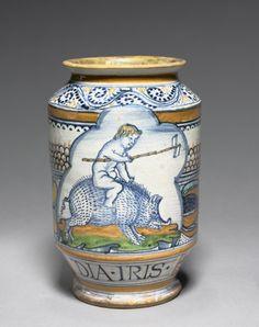 Cylindrical Pharmacy Jar  Italy, Siena, 16th century    Date: c. 1510    Medium: tin-glazed earthenware (Maiolica)