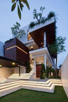 25 most popular modern dream house exterior design ideas 15 Architecture Design, Modern Architecture House, Modern House Design, Stairs Architecture, Luxury Homes Dream Houses, Dream Homes, Dream House Exterior, Exterior Houses, House Goals