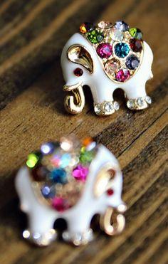 Rhinestone Elephant Earrings