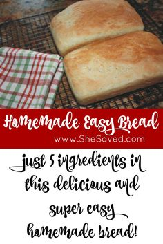 This homemade easy bread will be your new favorite because not only is it super easy, it's also super delicious!  ~from SheSaved.com