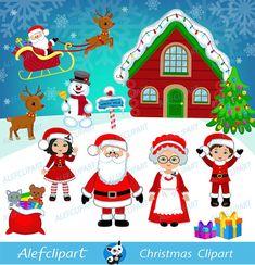 Рождество цифровой Клипарт, Рождественский клипарт, Санта Clipart, миссис Клаус, Санта-Клаус Clipart.