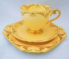 SALE - Shelley ripon peach gold gilt art deco tea cup and saucer trio plate