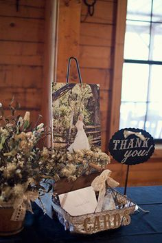 Cute idea for gift table... Don't like the bridal photo there though unless it was bride and groom.