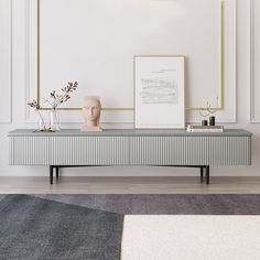 Modern Long TV Stand Gray TV Console with Drawers Line Media Console with Black Metal Legs - TV Stands - Living Room Furniture - Furniture Living Room Tv, Living Room Modern, Tv Stand Ideas For Living Room, Long Tv Stand, Tv On Stand, Metal Tv Stand, Black Tv Stand, Tv Stand With Drawers, Large Drawers