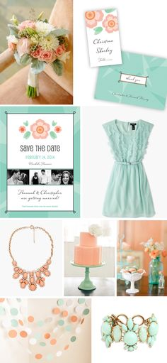 Mint & Coral Wedding Inspiration - Mint & Coral Wedding Invitation, Place Card & Thank You designed by Lauren DiColli Hooke for LookLoveSend.com