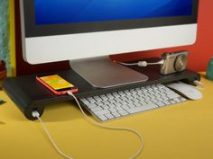 Space Bar Monitor Stand (Black): Clear the Clutter and Power Your Devices: The Monitor Stand That Declutters Your Workspace & Charges Your Devices