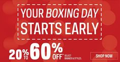 Sport Chek Canada Boxing Day 2016 & Boxing Week Sale Starts Early: Save 20% to 60% off Select Brands & Styles  ... http://www.lavahotdeals.com/ca/cheap/sport-chek-canada-boxing-day-2016-boxing-week/156148?utm_source=pinterest&utm_medium=rss&utm_campaign=at_lavahotdeals