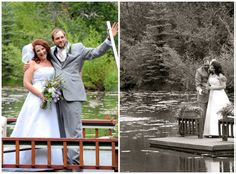 Bride and Groom on their private pontoon after Shadows Ranch wedding ceremony