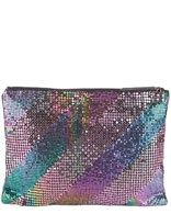 "BCBGMAXAZRIA ""Roxy"" Clutch. Multicolor metal mesh clutch. Approximately 12.5in at widest point x 9in high x .5in deep. $59.90 at ruelala.com"