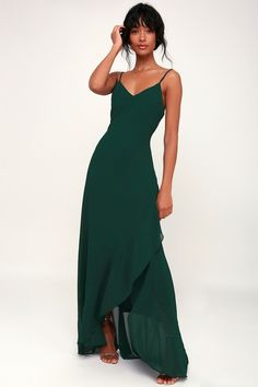 faa6715415202 Ada Forest Green Lace-Up Maxi Dress