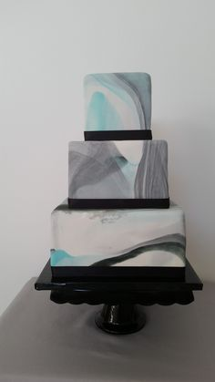 Wedding cakes wonderful reference 1498021639 - Sweet wedding cake tips and projects. Hungry for additional teal wedding cakes information, pop by the link today on 20190115 Teal And Grey Wedding, Aqua Wedding, Gray Weddings, Elegant Wedding, Wedding Colors, Dream Wedding, Small Wedding Cakes, Black Wedding Cakes, Wedding Guest Looks