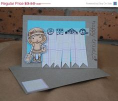 Happy Travels Card with Travel Marci by JemLouProductions on Etsy, $2.80