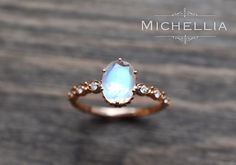 Rose Gold Moonstone Engagement Ring with Diamond, 14K 18K Solid Gold Rainbow Moonstone Crown Promise Ring, Blue Moonstone, Yellow White Gold by MichelliaDesigns on Etsy https://www.etsy.com/ca/listing/271287479/rose-gold-moonstone-engagement-ring-with