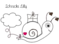 Stickmuster - Stickdatei Schnecken - Doodle - Schnecke Lilly - ein Designerstück von Klitzeklein_design bei DaWanda Washer Necklace, Doodle, Etsy, School, Design, Snails, Embroidery Designs, Appliques, Scribble