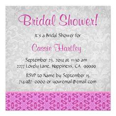 Bridal Shower Pink and Gray Invitations Invitation Design, Invite, Shower Invitations, Pink Grey, Damask, Rsvp, Bridesmaids, Bridal Shower, Envelope