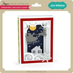 Shadow box card with santa's sleigh flying