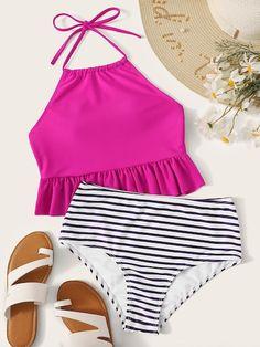 Ruffle Hem Halter Top With Striped Bikini Set swimwear Dressy swimwear Wedding swimwear Winter swimwear Pattern swimwear Tight Classy ,For Teen swimwear Bathing Suits For Teens, Cute Bathing Suits, Cute Swimsuits, Cute Bikinis, Bikini Swimwear, Bikini Set, Cheeky Bikini, Halter Bikini, Bikini 2018