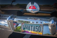 1950 Mercury rear emblem and personalized license plate.