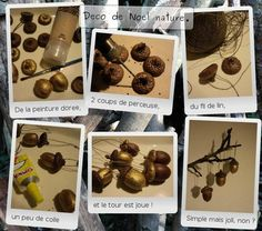 Painted acorns as Christmas decorations