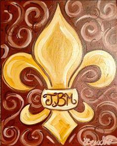 Swirly monogram fleur de lis - painting with a twist
