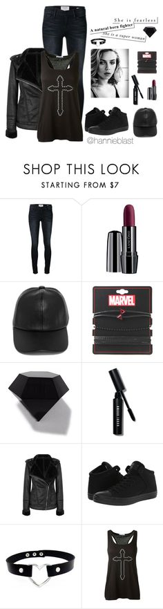 """C U T my H E A R T out"" by hannieblast ❤ liked on Polyvore featuring Frame, Lancôme, LULUS, Marvel, WALL, Bobbi Brown Cosmetics, Converse and Reis"