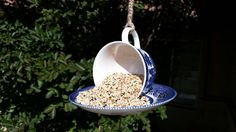 Vintage Churchill Teacup Bird Feeder/Hanging by TeaLightedTeacups