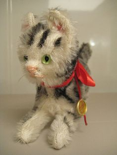 In my ETSY Shop: Hermann Vintage Mohair Striped Kitty Cat ~ MeWOW