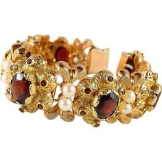 Outstanding Victorian flexible cuff bracelet Stamped heavy 18K solid gold garnets and pearls --- Vintage Jewelry for your Sweetheart from www.rubylane.com @rubylanecom #ValentinesDay