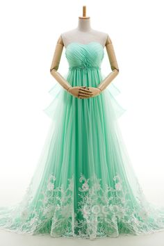 Eye-Catching A-Line Sweetheart Natural Court Train Tulle Green Sleeveless Lace Up-Corset Wedding Dress Beading Pleating LD4027 #weddingdresses #cocomelody  #colorwedding