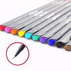10 pçs/lote caneta cor desenho para Fine line projeto 0.38 mm água cor canetas Micron stylo material escolar papelaria F954 em Canetas Gel de Office & School Suprimentos no AliExpress.com | Alibaba Group