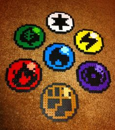 Pokemon Elemental Type Perler Bead Coasters