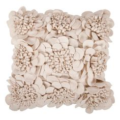 Wool-cotton pillow covered in fabric rosettes.   Product: PillowConstruction Material: Wool-cotton blend...
