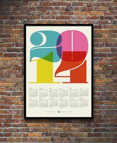 2014 calendar poster retro typography print mid century modern kitchen art Eames office - 50 x 70 cm