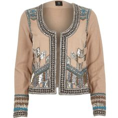 River Island RI Studio beige embellished jacket (265 560 LBP) ❤ liked on Polyvore featuring outerwear, jackets, river island jacket, brown jacket, long sleeve jacket, beige jacket and beaded jacket