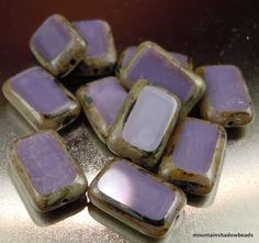 12 Czech Glass Beads 8x12mm Opaque Purple Picasso Table Cut Rectangle (C10 - 4)