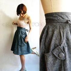 organic denim wrap skirt - hemp and organic cotton - cargo design pockets - from etsy