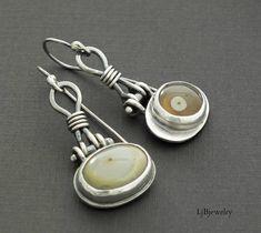 Silver Dangle Earrings Mixed Matched Earrings Drop Earrings