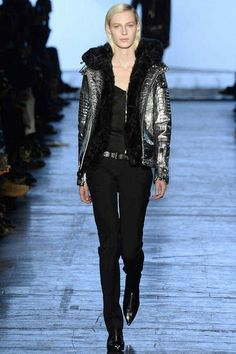 Silver bumper Jacket and fitted tailored pants with Slip back hair style by Diesel